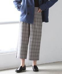 格紋8分長寬褲