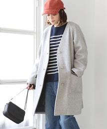 羊毛V領長大衣