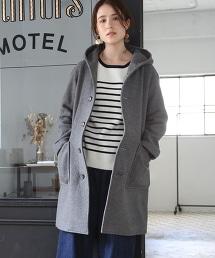 混紡羊毛中長版連帽大衣