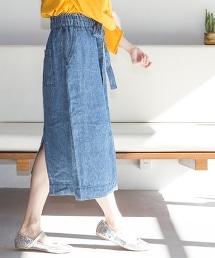 法國亞麻丹寧中長款窄裙