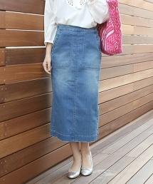【人氣款式・追加新色】彈性單寧長版窄裙
