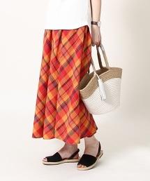 【Market】馬德拉斯格紋布長版荷葉裙