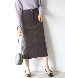 彈性燈心絨長版窄裙