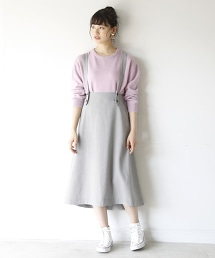 【2WAY】格紋長版喇叭裙 ( 無袖連身裙 )
