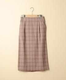 格紋彈性長版窄裙