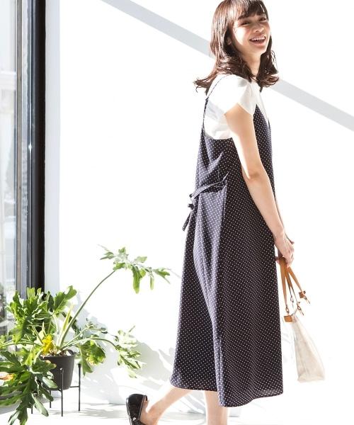 圓點印刷吊帶連身洋裝