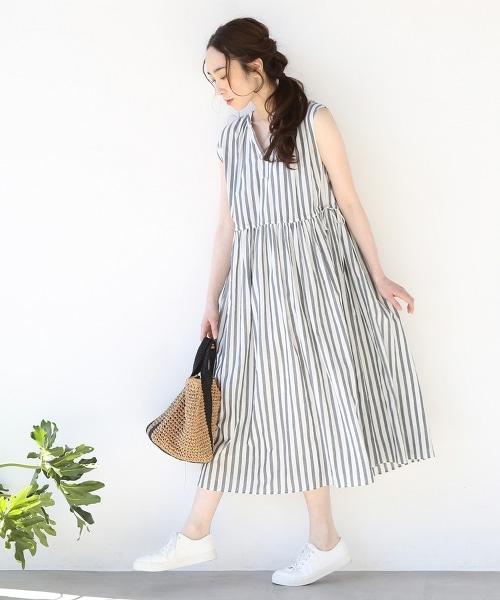 【Market】條紋連身迷嬉長裙