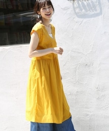 扇形蕾絲法國袖長版荷葉連身裙