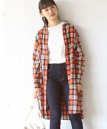 冬季亞麻格紋襯衫洋裝