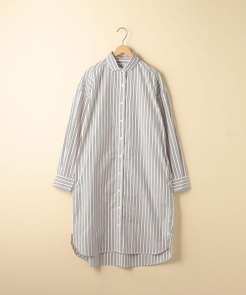 直條紋襯衫連身裙