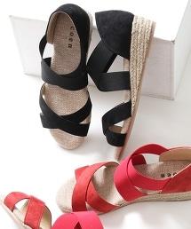 黃麻×仿麂皮草編楔型涼鞋
