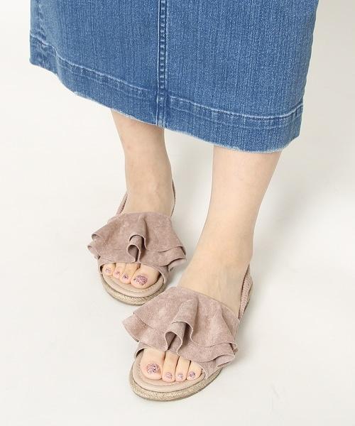 荷葉後綁帶草編涼鞋