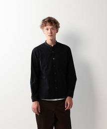<Steven Alan>COTTON STRIPE BAND COLLAR CLERIC SHIRT-BOLD/襯衫