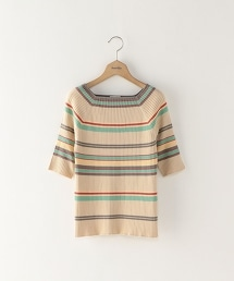 <bystv>COTTON MULTI BORDER SQUARE NECK KNIT 方型領針織上衣