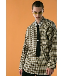 <monkey time> TARTAN CHECK PANEL OVER SIZED REG/襯衫