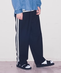 <monkey time> LINE TW ZIP SLIT WIDE PANTS/側邊線條拉鏈寬褲