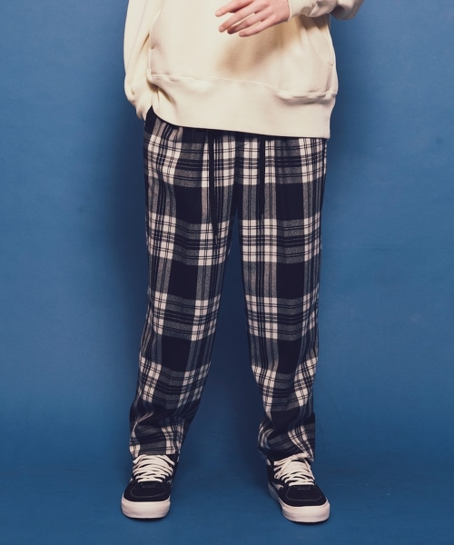 <monkey time> FLANO CHECK WIDE 1P PANTS/法蘭絨格紋寬褲