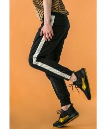 <monkey time>  C/N LINE SKINNY JOGGER PANTS/縮口褲