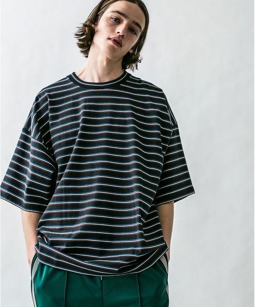 <monkey time>  MULTI BORDER WIDE TEE/橫條紋T恤