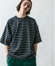 <monkey time>  MULTI BORDER WIDE TEE/橫條紋T恤