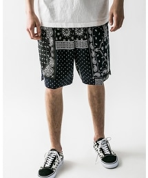 <monkey time> PAISLEY PRINT WIDE EASY SHORTS/短褲
