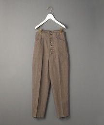 <6(ROKU)>FRONT BUTTON CHECK PANTS/前身鈕釦格紋錐形褲