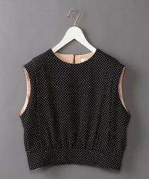 <6(ROKU)>DOT SHOULDER PAD BLOUSE/圓點無袖上衣