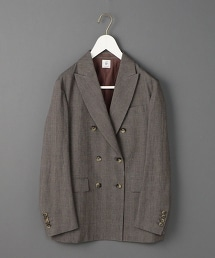<6(ROKU)>DOUBLE PEAKED LAPEL CHECK JACKET/雙排三釦格紋西裝外套