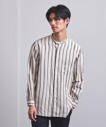 <UNITED ARROWS> 相間直條紋 直條紋 立領襯衫