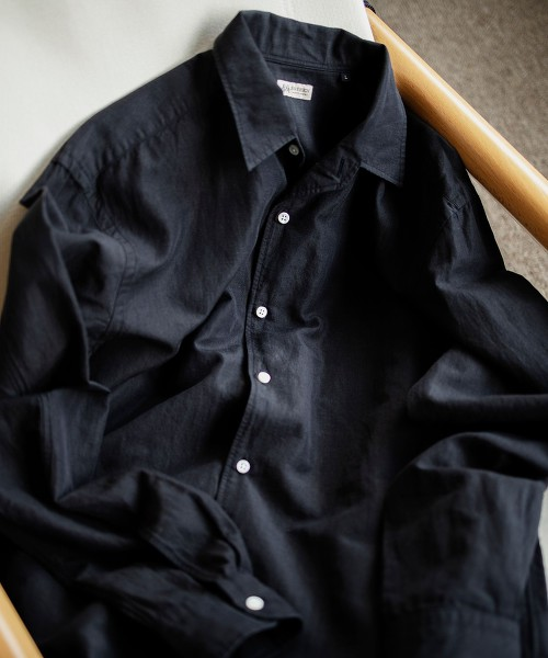 <SOVEREIGN> 棉麻 再生繊維 開領襯衫