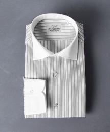 <UNITED ARROWS> GRAY 複合直條紋 牧師領襯衫