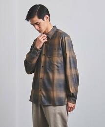 <UNITED ARROWS> 羊毛 起毛格紋布 標準領襯衫