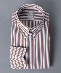 <SOVEREIGN> 複合直條紋 襟扣領襯衫 日本製