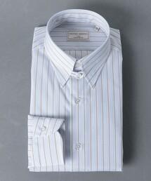 <UNITED ARROWS> EASY CARE 多色直條紋 襟扣領 襯衫 日本製