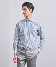 <ERRICO FORMICOLA>藍直條紋寬角領襯衫