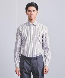 <ERRICO FORMICOLA> 摩卡 直條紋 寬角領襯衫