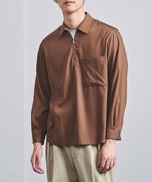 <UNITED ARROWS> 斜紋織 拉鍊 套頭襯衫