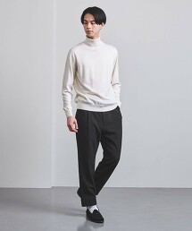 <UNITED ARROWS>VI/PE/PU 斜紋織 1摺長褲