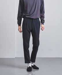 <UNITED ARROWS> 聚脂纖維 斜紋織 1褶 輕便長褲