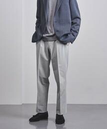 <UNITED ARROWS> 聚酯纖維/嫘縈 斜紋織 2摺錐形褲