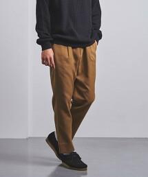 <UNITED ARROWS> 聚酯纖維 粗花呢 寬版錐形 1摺 長褲