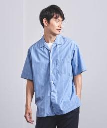 <UNITED ARROWS> 藍色直條紋 開領 短袖襯衫†