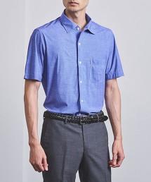 <SOVEREIGN> 精紡牛津布 義式領 寬角領短袖襯衫