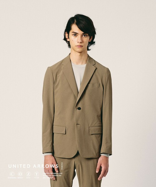 <UNITED ARROWS COZY> 尼龍 塔夫綢 單排 2釦西裝外套