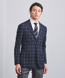 <SOVEREIGN> 深藍 窗格紋 3B 西裝外套