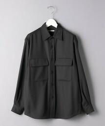<UNITED ARROWS> 聚酯纖維/羊毛 平紋緯編布 寬版CPO襯衫