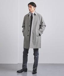 <UNITED ARROWS> 狩獵俱樂部格紋 插肩袖 中長版 巴爾瑪肯領大衣†
