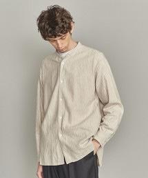 BY 法蘭絨 粉筆條紋 立領襯衫
