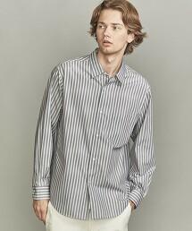 BY 藍色直條紋 寬版 錐形襯衫