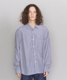 BY 藍直條紋寬版襯衫 -MADE IN JAPAN-